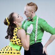 Portrait lovely funny dancer couple